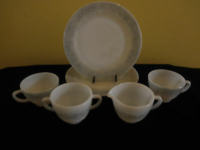 Vintage Federal Glass Plates Cream Sugar Cups Gray 50s