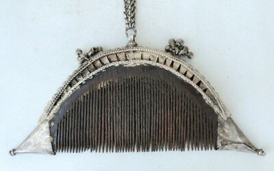 Rare Vintage Antique Collectible Tribal Old Silver Comb