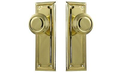 "DOOR KNOBS-""EDWARDIAN""-POLISHED BRASS-HERITAGE SET-californian bungalow PAIR"