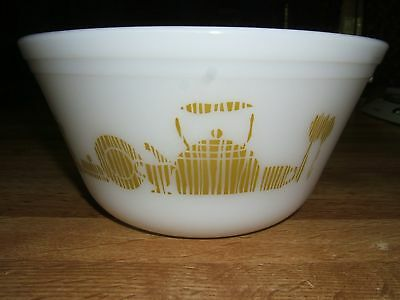 Vintage Federal Oven Ware Bowl~White With Dish Motif