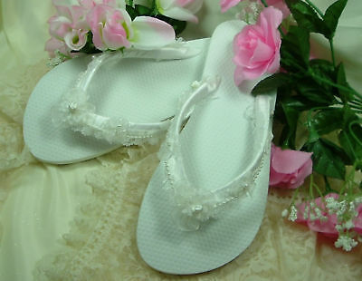 "Wedding Shoes FLIP FLOPS  ""White Bows"""