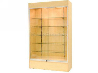 Maple Color Wall Display Case Retail Store Fixture w/Lights KNOCKED DOWN #WC4M
