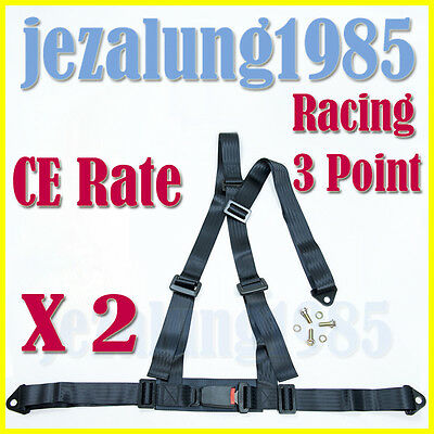 PAIR OF BLACK 3 POINT RACING SEAT BELT HARNESSES FOR CAR/OFF ROAD/4x4 HARNESS