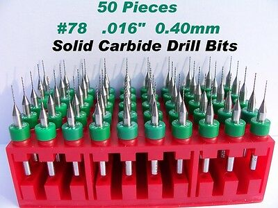 """50 Pieces #78  0.40mm .016""""  Solid Carbide Drill Bits"""