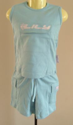 Girls Light Blue Sleeveless Top & Shorts Set Age 2/3
