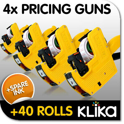 4x PRICING PRICE TAG TAGGING GUN LABELERS + 40 ROLLS