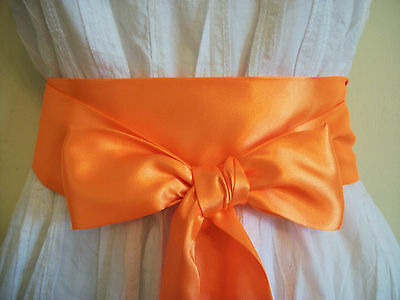 "3.5x100"" NEON ORANGE SATIN FABRIC SASH SELF TIE BOW BELT FOR PARTY FANCY DRESS"