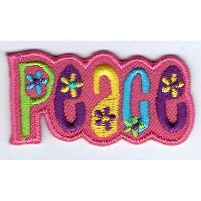 Ecusson Patche Patch Thermocollant Peace And Love Rose Pink Dim. 5 X 2,5 Cm