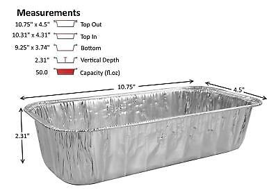 3 lb. Disposable Aluminum Foil Loaf/Bread Pan Container Baking Tin 50 Pack