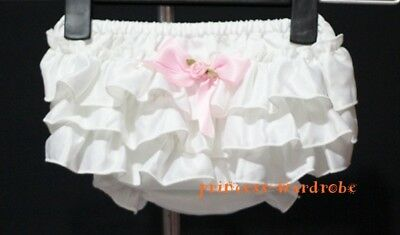 Baby Pure White Layers with Bow Panties Bloomer 6m-3Y