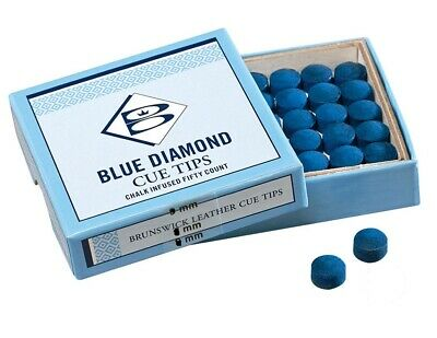 2 x 10mm Leather- Geniune Blue Diamond Glue on Replacement Snooker-Pool Cue Tips