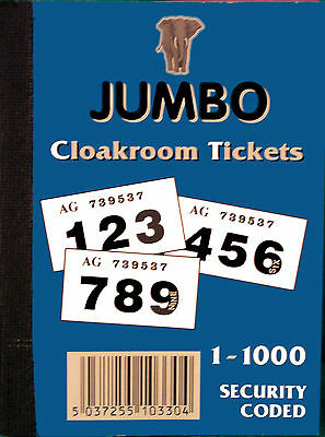 1000 colour raffle tickets or 500 book (cloakroom / tombola) unique duplicates