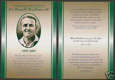Australia 2001 Sir Don Bradman Cricket Tribute Postcard