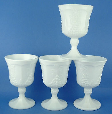 4 Colony Harvest Milk Pressed Glass Grapes Water Goblet