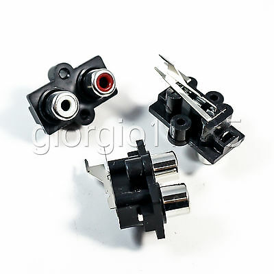 10pcs Stereo RCA Connector Female Chassis Sockets