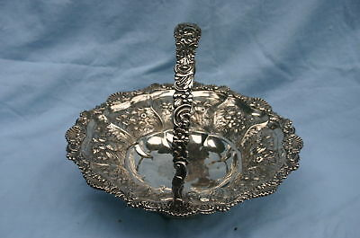 1869 Large Sterling Silver English Basket   FINE & RARE