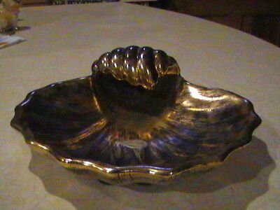 Stangl Pottery Black Gold Clam Shell Dish Bowl With Sticker