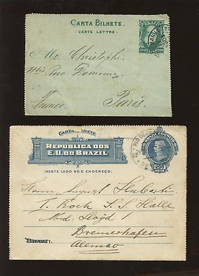 BRAZIL 1892 + 1910 STATIONERY LETTERCARDS to EUROPE x 2