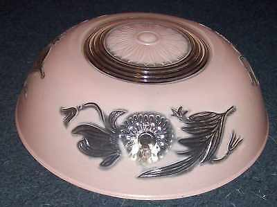 Art Deco Nouveau Pink Semi Frosted Glass Light Shade