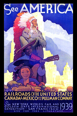 SEE AMERICA UNITED STATES CANADA MEXICO PEOPLE FOOD MUSIC VINTAGE POSTER REPRO