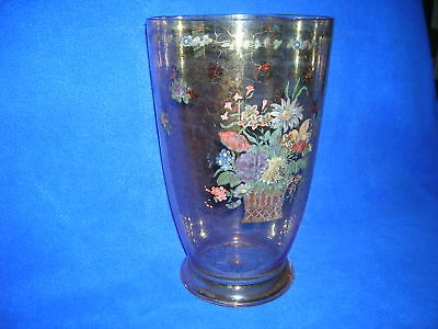 """Large crackle glass vase, tinted, 12"""", floral accent"""