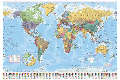 GIANT MAP OF THE WORLD POSTER FEATURES FLAGS OF COUNTRIES FL0340 140cm x 100cm