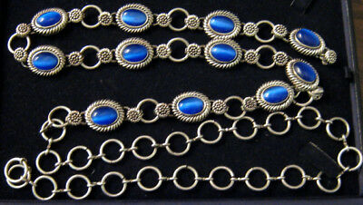 Silver Tone Belt With Blue Settings