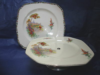 Castle garden vintage cake stand & plate shabby chic