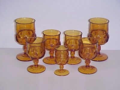 Indiana Glass Kings Crown Amber Thumbprint Goblets