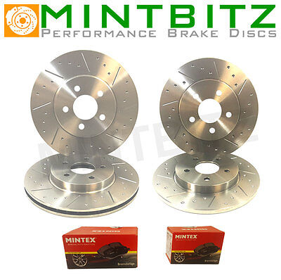 VW Golf 2.0T Gti 05-08 Front Rear Brake Discs+Pads Dimpled & Grooved