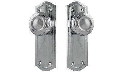 DOOR KNOBS-KENSINGTON-BRIGHT CHROME-PERIOD deco retro-solid brass handles tradco