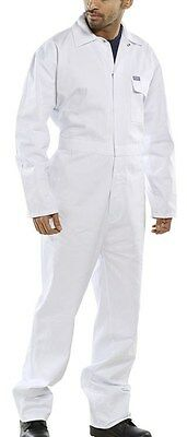 100% cotton drill boilersuit overalls coveralls - white - various chest sizes