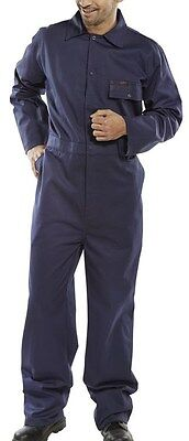 100% cotton drill boilersuit overalls coveralls navy blue - full size selection