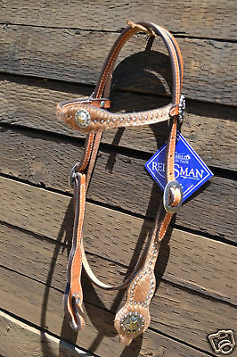 Reinsman Camarillo Dancing Dots Headstall with Hair On Cowhide and Spots