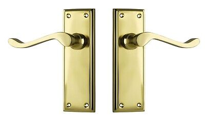 DOOR LEVER-CAMDEN-POLISHED BRASS-DECO or Victorian period style-forged brass