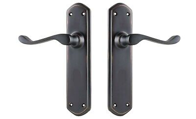 DOOR LEVER-WINDSOR-ANTIQUE COPPER-DECO-californian bungalow style-forged brass
