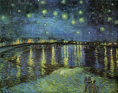 Starry Night Over The Rhone Impressionist Painting By Vincent Van Gogh Repro