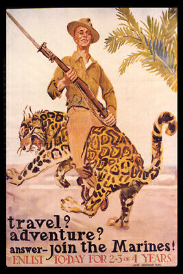 Travel Adventure Join The Marines Enlist Soldier Tiger Usa Vintage Poster Repro
