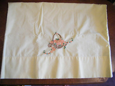 Collectible Beautiful Embroidered Pillow Case Yellow Floral CUTE
