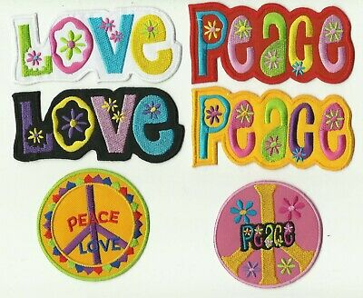 LOT 6 ECUSSON écusson PATCHE PATCH THERMOCOLLANT  PEACE AND LOVE MULTICOLORE