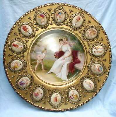 Important Vienna 19C Porcelain Carve Wooden Side Table   MAGNIFICENT