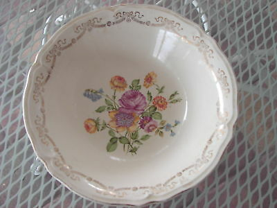 VINTAGE EDWIN M KNOWLES ROSES W/GOLD VEGETABLE BOWL