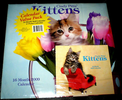 COLLECTOR'S SEALED NEW 2 PACK 16 MONTH 2009 KITTENS WALL CALENDARS PLANNERS