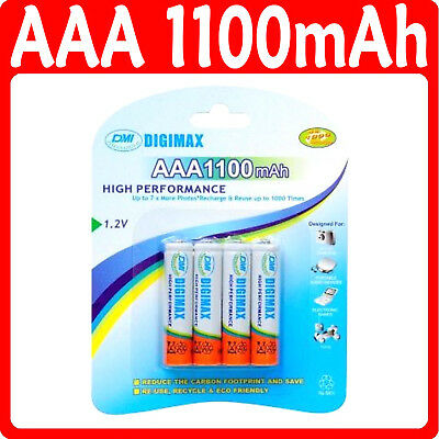 4 x AAA 1100 mAH Rechargeable Batteries LR03 1.2v