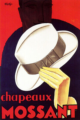 Mossant Chapeaux Hat Man French Fashion Vintage Poster Repro