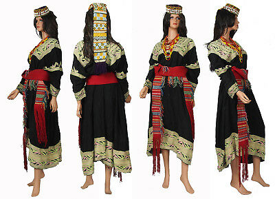 antik Komplettes Frauen Afghan Kleid Pakistan Chitral kalash Woman's Dress NR:3