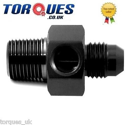 """AN -8 (AN8) To 1/4"""" NPT With 1/8"""" NPT Side Port Gauge Adapter Black"""