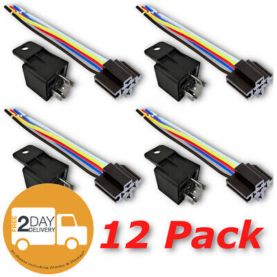 New 12 Pack 12 Volt 12V 5-Pin 40/30 Amp Relay Harness Electric Switch