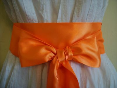 "2.5x100"" NEON ORANGE SATIN SASH BELT SELF TIE BOW FABRIC RIBBON FOR DRESS PARTY"