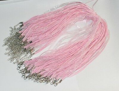 10pcs Pink Lobster Clasp Organza Ribbon Cord Necklaces